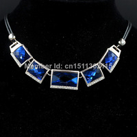 Free Shipping The latest fashion luxury alloy blue semi-precious statement necklace for women