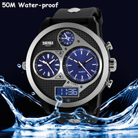 Cool Big Size Multiple Time Zone Men Casual Watches Classic Round Quartz Analog Digital Wristwatch Rubber Clock 5ATM Reloj NW806