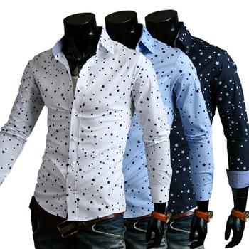 2014 Autumn Mens Dress рубашка Pentacle Printing Slim Fit Повседневный Длинный Рукав ...