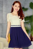2014 fashion slim gentlewomen lace cutout 1306 chiffon short-sleeve dress