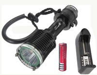 free shipping Diver Diving CREE XM-L T6 2000Lm LED Flashlight Torch Waterproof Light+4000mah 18650 battery +charger