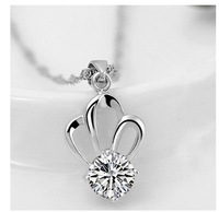 Fashion Do not fade austrian crystal jewelry women Crown zircon angel Pendant necklace