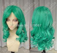 Sailor Moon Neptune COS wig New sexy Long Green Cosplay Curly Hair Anime wigs Kanekalon Fiber no lace Hair full Wig