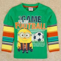Newness 2014 Retail NOVA Kids Boy Fashion Boy Clothes Despicable Me Cartoon Boys 100% Cotton Long Sleeve T-shirt