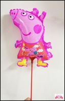 NEW arrived 14inch Peppa pig foil balloon within stick aluminium foil balloon cartoons shape balloon children toys