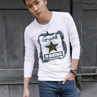 2014 New summer fashion men's slim  pentagram printing O-neck Long-sleeve cotton T-shirt  Y0384