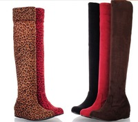 Free shipping 2014new Autumn and winter fashion leopard grain elevator over-the-knee boots can be customized plus-size