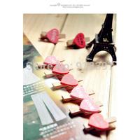 100PCS Korean Wood Love Heart Small Clamps Folder Snacks Photo Hanging Clip Bookmark