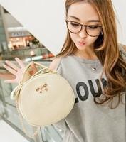 Pu leather bags Korean fashion cute mini rabbit round handbag chain bag handbag 2014 Super Meng cute retro bow packets