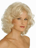 Fashion Style wig New sexy women's Short Platinum Blonde Curly Natural Hair Mimicry Human Kanekalon Fiber Hair queen full Wig