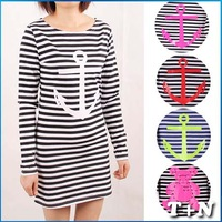 Sexy Club 2014 Striped With Printed Anchor Bear Rudder Women Dresses Full Sleeve T-Shirts Long Tops Skinny Tees Bodycon Dress