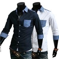 Free Shipping new fashion 2014 hit color pocket trim casual shirt men's long sleeve casual shirts man slim fit YZ9095
