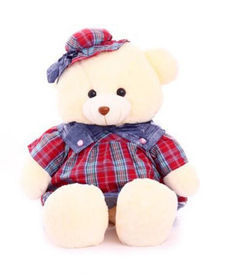 Lovely Teddy Couple Bear Toys Plaid Fabric Plush Toy Stuffed Dolls 1M Birthday Gift(China (Mainland))