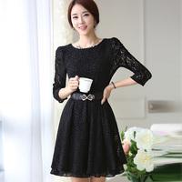 2014 spring lace ol slim elegant long-sleeve basic autumn one-piece dress belt