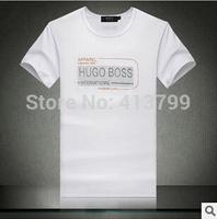 Free Shipping 2014 NEW Fashion Men T Shirt Short Sleeve Brand New Designer Shirts Black/White/yellow/gray Men Clothing
