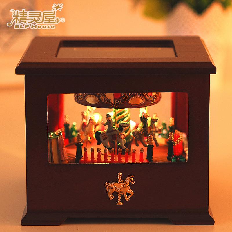 Wooden carousel music box music box Castle in the Sky Crea