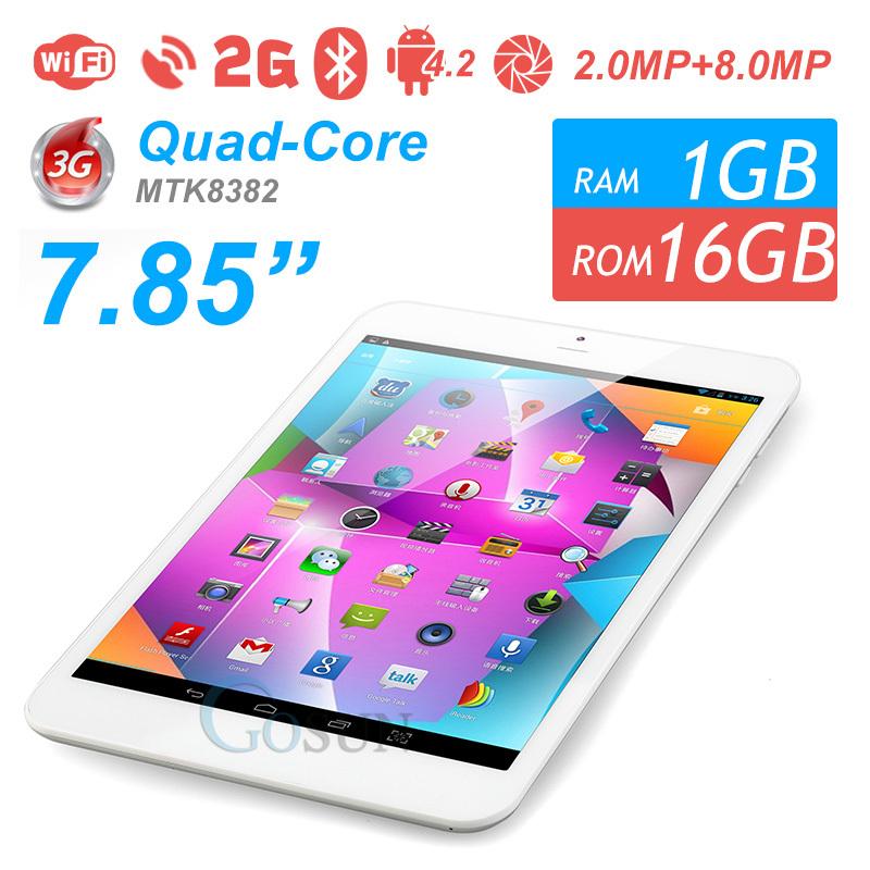 Original KNC 7.85inch for copy Ipad Mini 1GB/16GB Android 4.2 Tablet PC MTK8382 1024*768 IPS 3G GPS Bluetooth FM 2.0MP 8.0MP Cam(China (Mainland))