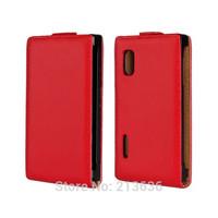 Top Quality Flip Genuine Leather Case Cover for LG Optimus L5 E610 E612 E615, Magnetic, 8 Colors