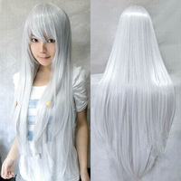 Free Shipping cosplay straight long wigs costume hair 80cm Silvery white colour