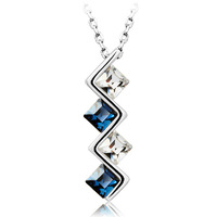 New Fashion Austrian Crystal Pendant Necklace 18K White Gold Plated Women's Charm Jewelry Free Shipping (CN037)