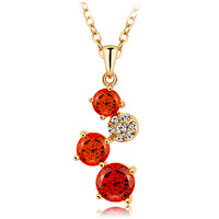 New Fashion Austrian Red Crystal Pendant Necklace 18KGP Rose Gold Plated Women's Charm Jewelry Free Shipping (CN039)