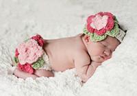 Newborn Flower Set  Headwear Beanie baby Girl Costume handmade Knit crochet photography props hats Newborn Baby Free Shipping