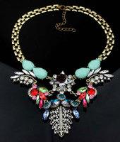 2014 Newest Luxury Brand Jewelry Rhinestone Flower Choker Necklace Vintage Women Fashion Necklaces L0317