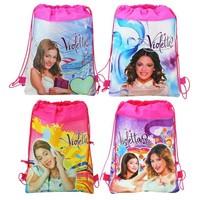 12Pcs Violetta Children Cartoon Printing Drawstring Non-woven Violet School Backpack bags,baby shoulder mochila