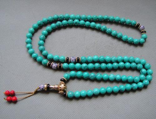 """35 """"china tibet turquesa tibetano budista preocupação buda oração talão mala pulseira(China (Mainland))"""
