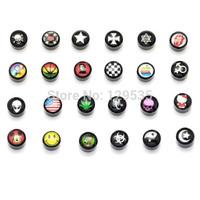 2014 New Black 8mm Acrylic Skull Cross Tongue Scorpion Star Smile Cat Tai Chi US Flag Women Men Magnetic earrings 24 styles