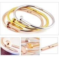 Fashion jewelry Men Women Stainless Steel Nail Bangle Bracelet Silver Rose Gold Titanium Love Bracelet Bangles