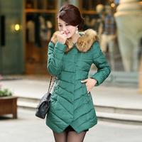 2014 winter with a hood fur collar slim medium-long down cotton-padded jacket wadded jacket female