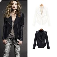 2015 new women's leather stitching jacket Slim long-sleeve lapel jaqueta couro