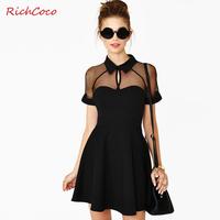 2014 new Fashion sexy slim richcoco cutout turn-down collar raglan sleeve chiffon one-piece dress patchwork grenadine summer