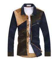 2014 Autumn New High Quality Plus Size 3XL 4XL 5XL Patchwork Corduroy Fashion Shirt Men Men's Long Sleeve Shirts