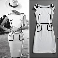 2014 New Fashion Short Sleeve Knee-Length Women Pencil Vintage Pockets Dress Club Slim Vestido Bandage Dress Celebrity Dresses