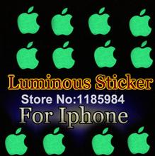 Zero Profit DIY Luminescent Logo sticker for Apple iphone 3GS/4/4S/5 green natural light luminous sticker Mobile Phone Stickers(China (Mainland))