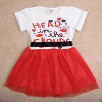children princess dress Nova kids clothing with plaid sashes causal fashion girls summer short sleeve party  dress H4830#