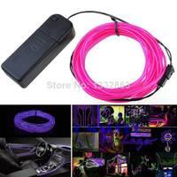 5 M Purple Led Flexible EL Wire Neon Light for Dance Party Car Decor +Controller wholesale TK1379
