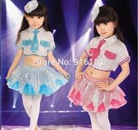 2014 New  Children Dance Wear Latin dance costume Girls sequined gauze skirt Dress Children Modern Dance Performing service  IVU