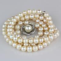 Small elegant unique white pearl multi-layer 925 pure silver camellia pendant necklace female