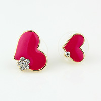 Fashion accessories sweet heart size stud earring exquisite elegant