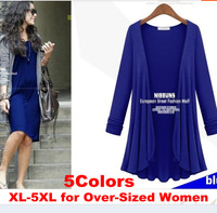 5Colors XL-5XL Women's Designer European Style Plus Size Solid Long Sleeve Loose Large Cardigan /Tops 2014Spring/Autumn