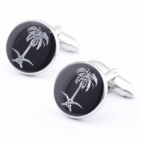 Hot Black Round Engraved Tree Plant Sleeve Button Elegant Summer Stylish Shirt Cuff link For Men's Gift