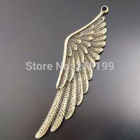 Whosesale Antique Style Bronze Tone Alloy Wing Charm Pendant 54*14mm 15pcs 02710/02700