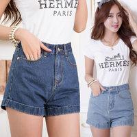 Loose high waist denim shorts fashion denim shorts female white jdd-582 Large size 26-33