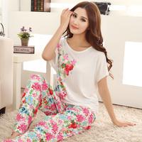 Comfortable 2014 modal sleepwear female summer short sleeve length pants elegant lounge set