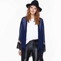 Shirt Women KIMONO Tassel Chiffon Long-Sleeved Midnight Blue Cardigan Plus Size Blouse