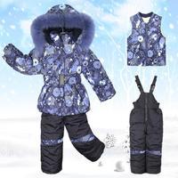 2014 Winter brand thick Baby sets Coat + vest + Bib Plus velvet boy girl  Warm suit cloting 2 colors Free Shipping F01