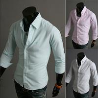 Free Shipping New 2014 fresh striped mbroidered shirt men's long sleeve shirt casual fashion slim fit mens dress shirts